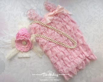 1st Birthday Girl Outfit| Girl Lace Romper Outfit| Cake Smash Outfit| Pink Petti Lace Romper| First Birthday Girl Outfit| 6-18 Month Outfit
