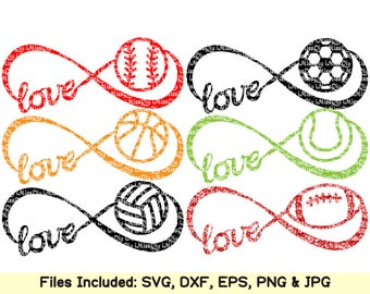 Sports balls svg cut file football basketball baseball soccer clipart infinity symbol svg files for cricut silhouette svg Eps Dxf cut files