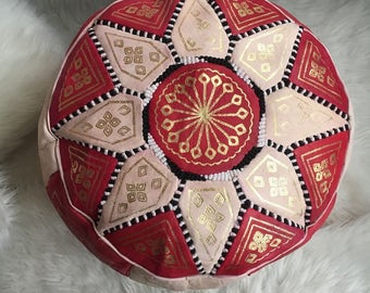 Medium sized Moroccan berber traditional leather pouf