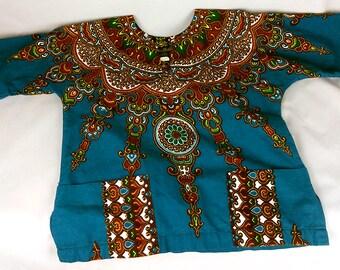 Teal and brown Dashiki Syle Tunic, with pockets, Bou Boudima brand Size S, Vintage