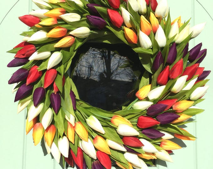 Red purple orange and white spring tulip wreath