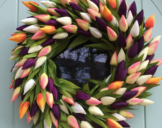 Big beautiful faux tulip wreath with orange flashes