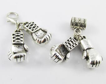 Pair of 3D Boxing Gloves Charm Select European Charm or Clip on