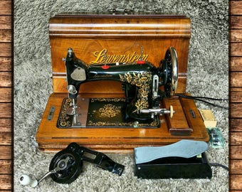 FREE Shipping* | Lewenstein by Gritzner | Antique Sewing Machine | Made in Germany 1930's | Electric & Manual Operation | Working Light