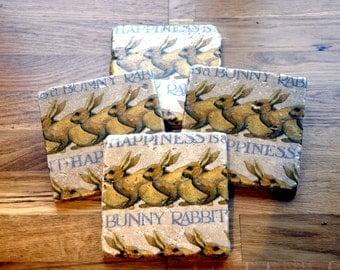 Emma Bridgewater Happiness is a Bunny Rabbit Natural Stone Coaster