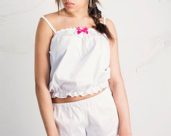 White Cotton Nightwear/Sleepwear two piece set available sixe 8-10, 12-14