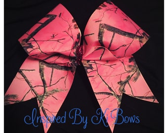 Pink Camouflage Camo Cheer Bow