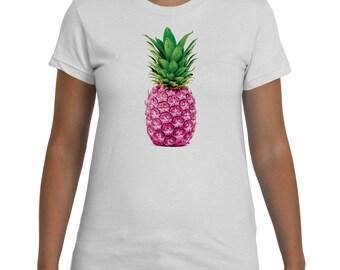 Pineapple Pink White TShirt Women