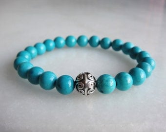 Turquoise bracelet with sterling silver bead / mens turquoise bracelet womens genuine turquoise silver turquoise bracelet stone turquoise