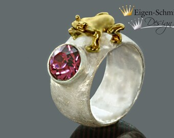"""Frogring """" frog Lotta """" in 925er sterling silver with partial gold-plating, frog, swarovski, pink, christmas, silverring, gold, surprice"""