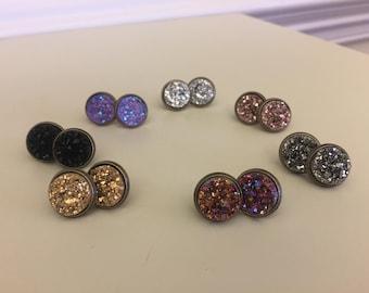 Bronze Druzy Stud Earrings