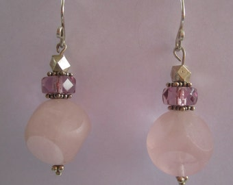 Vintage Dice Carved Rose quartz Beads, Swarovski Crystal Beads 1960s, silver beads, silver handmade ear wires
