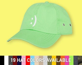 Happy Face - choose hat color - dad hat with embroidery - made to order