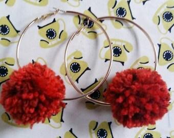 Pom pom burgundy hoop earrings. Autumnal earrings