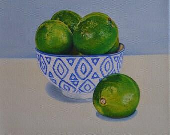 Green lemons - limes Still life painting - still life - Oil painting on canvas - oil on canvas
