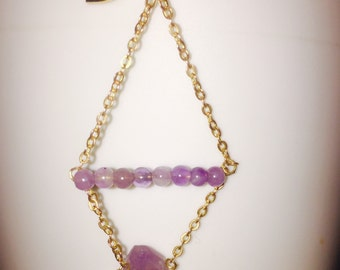 Raw uncut unpolished amethyst earrings with amethyst beads available in gold or silver