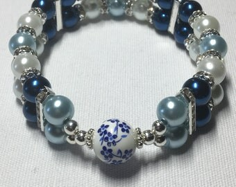 Bouble banded painted pearl (Blue)