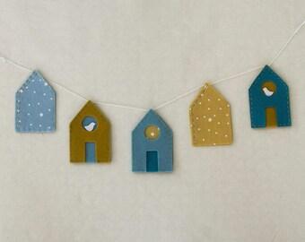 Nordic houses Garland Kit • diy kit • wall decor in mind Scandinavian • easy sewing kit item