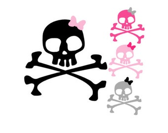 SKULL and CROSSBONES w/ BOW Quality Vinyl Decal, Girlie Skulls, Pirate, Punk Girls, Car Decal, Yeti Decal, Cellphone Decal, Gifts!!