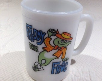 "Vintage ""Freddie the Frog"" mug - collection for child in milkglass Cup - made for the Avon company"