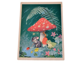 Vintage Soviet Postcard Collection Memorabilia Fairy Tale Mouse Frog Ant Paper Stationery 1956