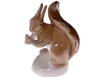 Vintage Porcelain Horodnytsia Factory Squirrel With Nuts Figurine Collection Art Animals Figures