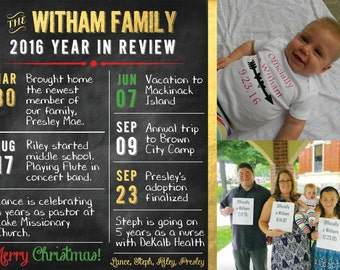 Personalized Chalkboard Year in Review Card
