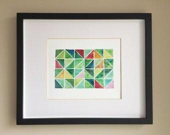 "Geometric Watercolor Print, 8x10"" Giclée Print, Triangles"