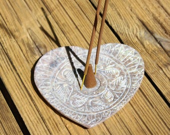 Heart shaped incense stick ash catcher cone holder carved stone heart