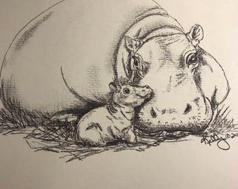 Baby and mama hippo