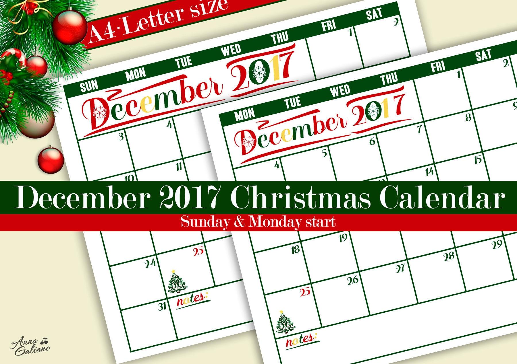 Christmas Calendar 2017 : December christmas calendar printable