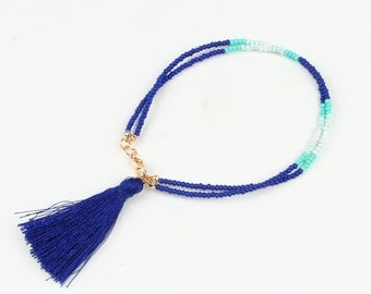 Purple Tassel Bracelet with Beads and Colored Tassel
