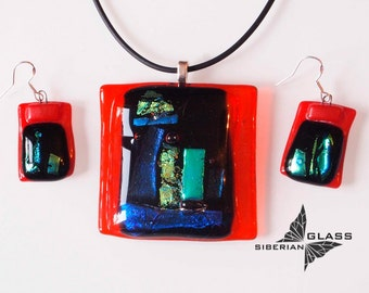 Fused glass jewelry set of earrings and pendant Winter sunset