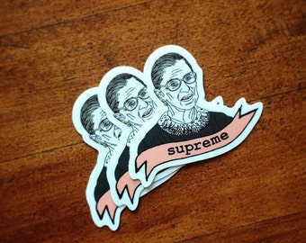 Ruth Bader Ginsburg Sticker, Notorious RBG, Supreme Court Justice, Feminist Stickers, Lawyer Sticker, Gift, Law school gift