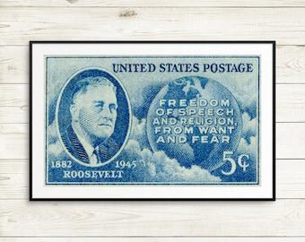 Freedom of Speech, Freedom of Religion, History posters, US history, history classroom, US presidents, President Roosevelt, 1947, WW2