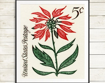 Christmas art, merry mail, christmas cards, christmas flowers, poinsettia print, poinsettia clipart, comfort and joy, oh holy night