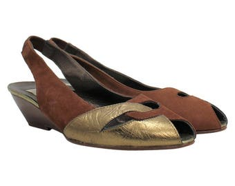 1980's Brown And Gold Slingbacks