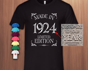 Made in 1924,93rd Birthday Gift T shirt ,93r Bday T-shirt,93 Birthday Tshirt for Woman,93 Birthday Tshirt for Men,Tee