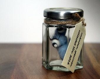 Needle felted curio, cute felt creature, quirky specimen jar, wool soft sculpture, unusual little gift, felt monster, fibre arts curiosity