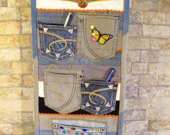 Denim panel for cabinet room