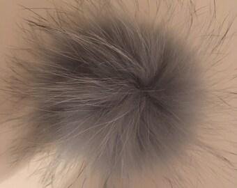 Gray fur Pompom to Hat / fur pompom for hat beanie