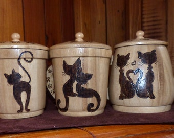 Cat,Teapot Set of 3,Cream and Sugar,wood,kitty,cats,teapot set,kitty teapot set,wooden,cat teapot set,pyrography,woodburning,teapot