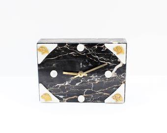 Marble Clock /Junghans / Massive / Black & White / Marble / Brass / Dogs Decor  / Art Deco Clock