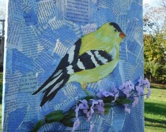 Lilac Loving Canary - mixed media