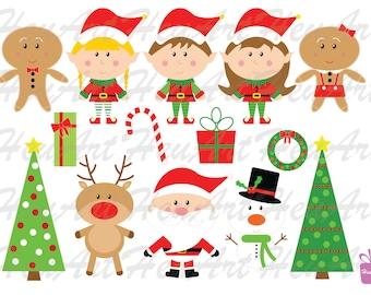 Cute Christmas Clipart Set - Cute Santa Printables, Cute Reindeer Printables, Christmas Artwork, Christmas Stickers, Cute Holiday Stickers