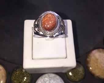 Silver and sun sitara ring