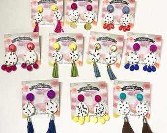 Spotty colourful dangle earrings- custom made (choose your colours)