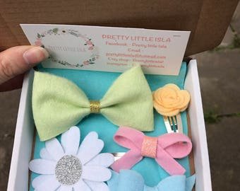 Small Spring hair bow surprise box