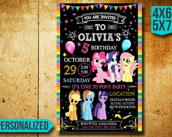 My Little Pony Invitation, My Little Pony Bithday Invitation, My Little Pony Birthday, My Little Pony Party, My Little Pony Invite CK