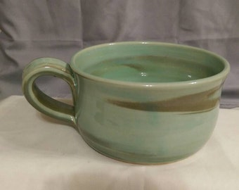 Soup Mug. Soup Bowl. Beautiful handmade pottery soup mug. Available in green or brown. Unique, no two are exactly the same. Microwave safe.